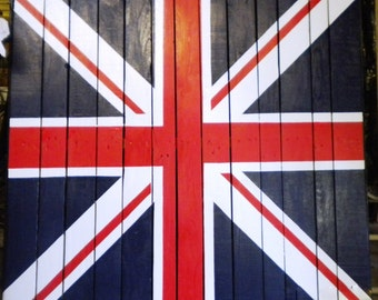 Wood Pallet Union Jack British Flag Pallet, Painted Wood Union Jack, Wood Pallet, Shabby Chic British  Flag