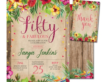 Tropical Flower Birthday Invitation Any Age Adult Party Hawaii Luau Invite 21 30 40 50 60 70