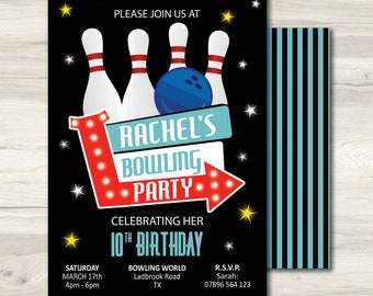 Bowling Invite, Bowling Invitation, Bowling Birthday Party Invite, Strike Birthday Invite, Super Bowl Invite, Printable Bowling Invitation
