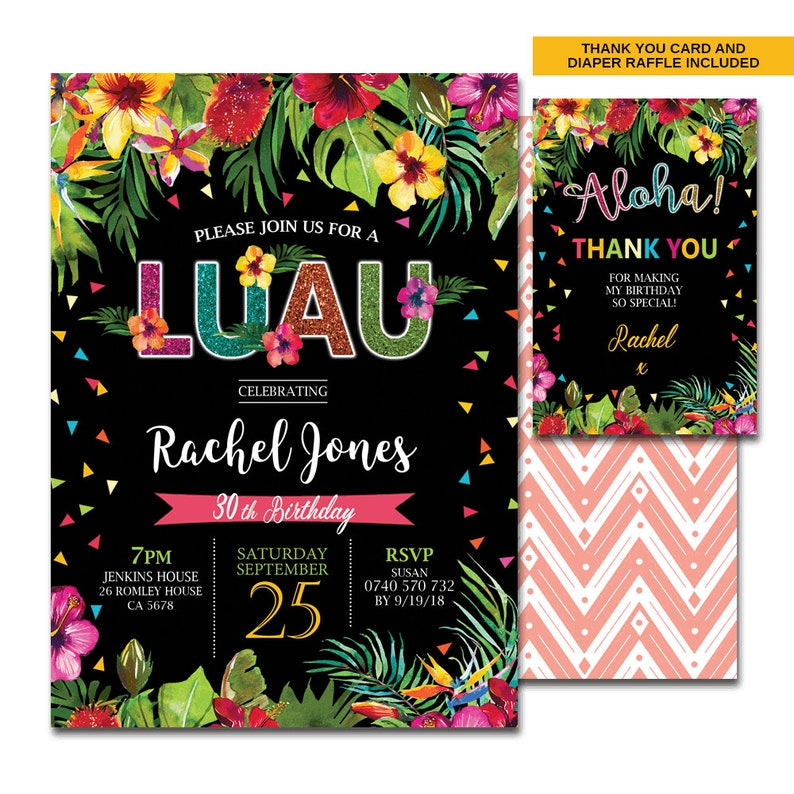 Birthday Luau Invitation 21st 30th 40th 50th 60th 70th