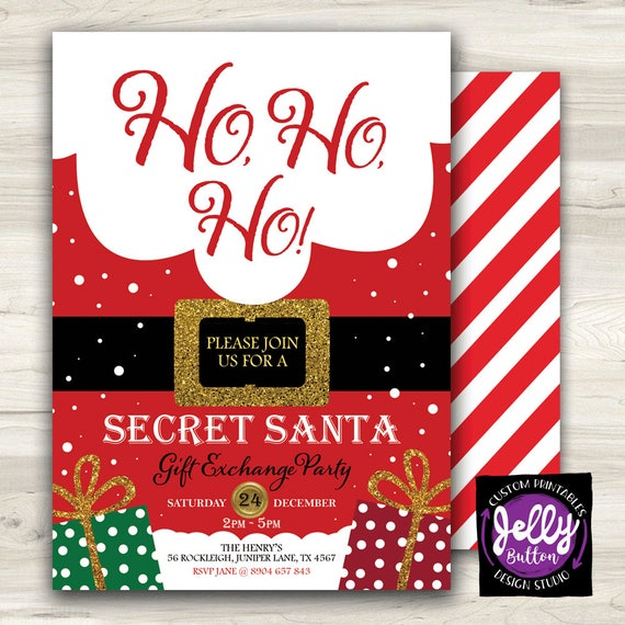 secret santa invite christmas gift exchange party invite ho etsy .