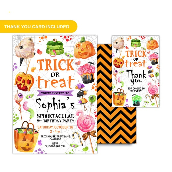 Trick or treat birthday invitation trick or treat invite etsy image 0 filmwisefo