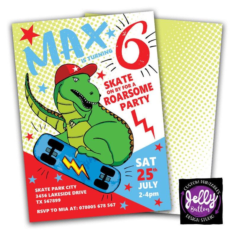 85c919127 Skateboarding Invitation T Rex Skateboarding Invitation   Etsy