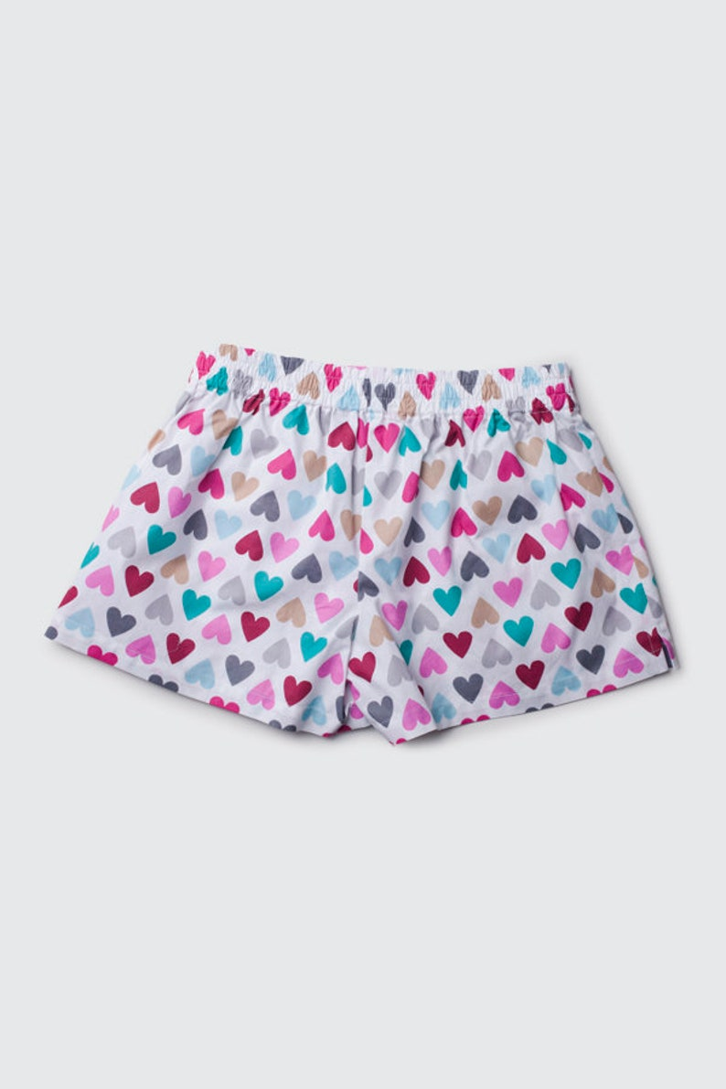 Couple cotton sleeping shorts boxers  COLOUR HEARTS his hers