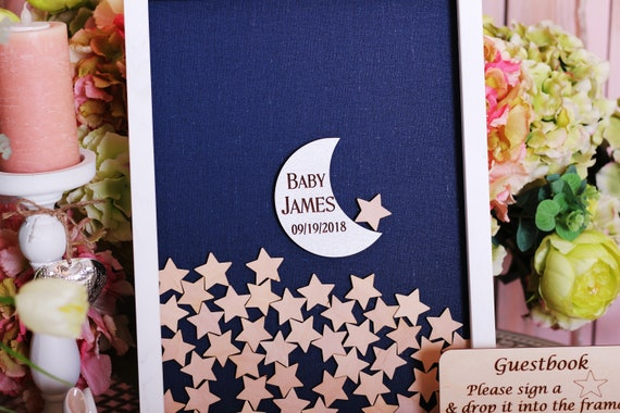 Rose Gold Twinkle Twinkle Baby Shower Alternative Frame Guest Book