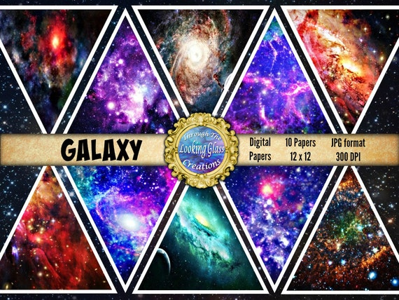 Galaxy Digital Paper Galaxy Scrapbook Paper Space Paper Outer Etsy