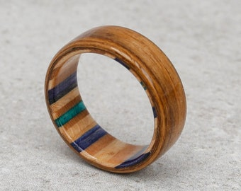Rosewood Santos and Canadian Maple - Recycled Skateboard Ring - Wedding Band - Wood Jewellery - Unique Anniversary Gift - Man and Women Ring