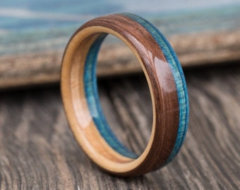 Oak And Recycled Skateboard Wood Ring - Wedding Band - Wooden Ring - 5th Anniversary Gift - Blue - Ring for Men - Boyfriend Gift - For Her
