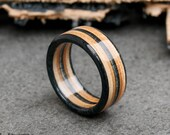 Wooden Ring - Skateboard Ring - Wedding Bands - Anniversary - Skate Ring - Brown - Boyfriend Gift - Black  Ring - Mens ring - Upcycled Ring