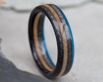 Wooden Ring - Skateboard Ring - Wedding Bands - Anniversary - Gray Ring - Mens ring - Brown - Dark Blue - Wood Band - Boyfried Gift