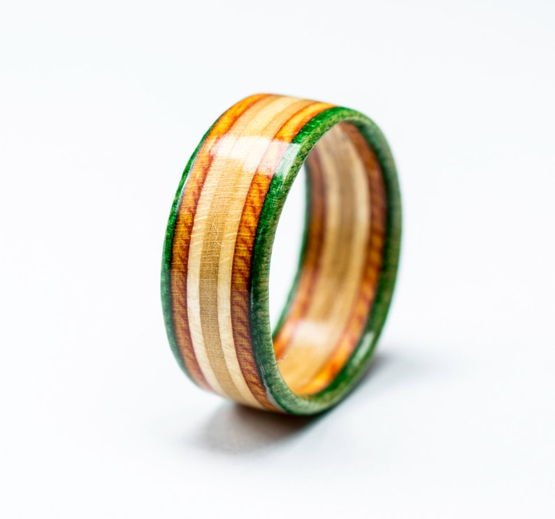 Recycled Skateboard Ring Handmade Wooden Ring Canadian Maple Ecological Jewelry Waterproof Wood Ring Orange Green Natural
