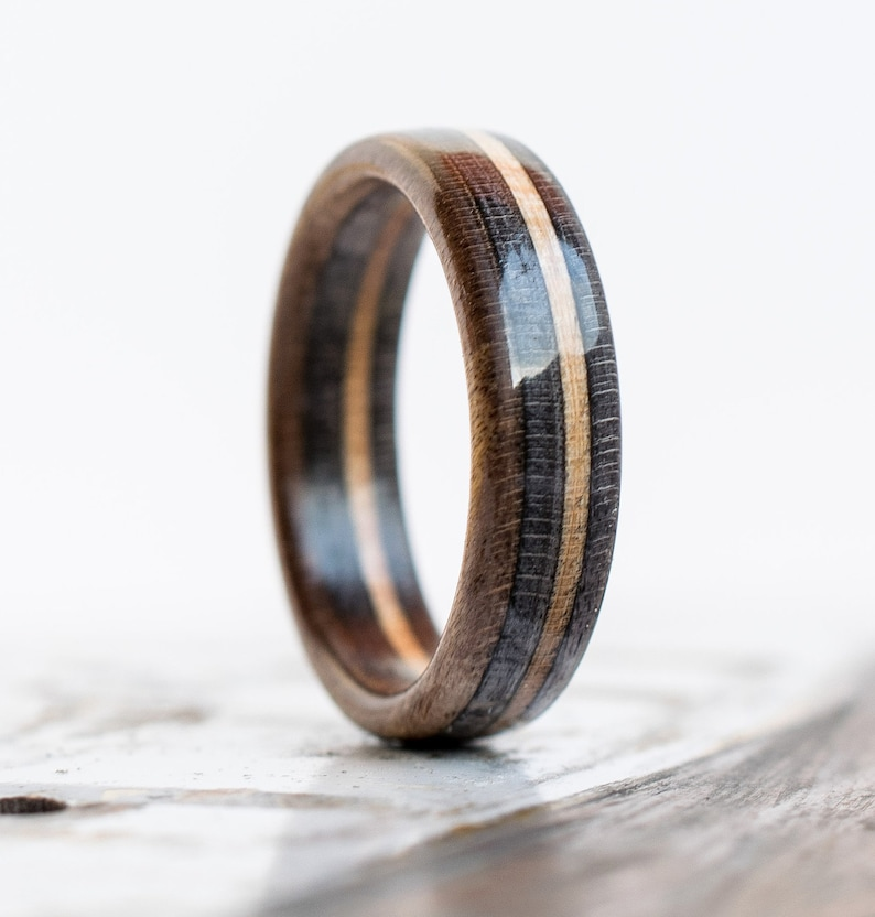 Recycled Skateboard Ring - Wooden Ring - Wedding Band - Brown- Gray -  Ecological Jewelry - Waterproof - Boyfriend Gift - Girlfriend Gift 0ef9393af68