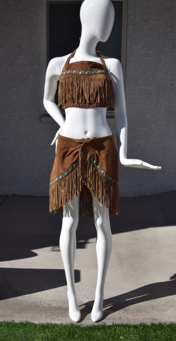 Leather Fringe Skirt Set