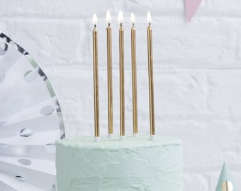 Tall Gold Candles X 24 Birthday Cake Childrens Party Decor