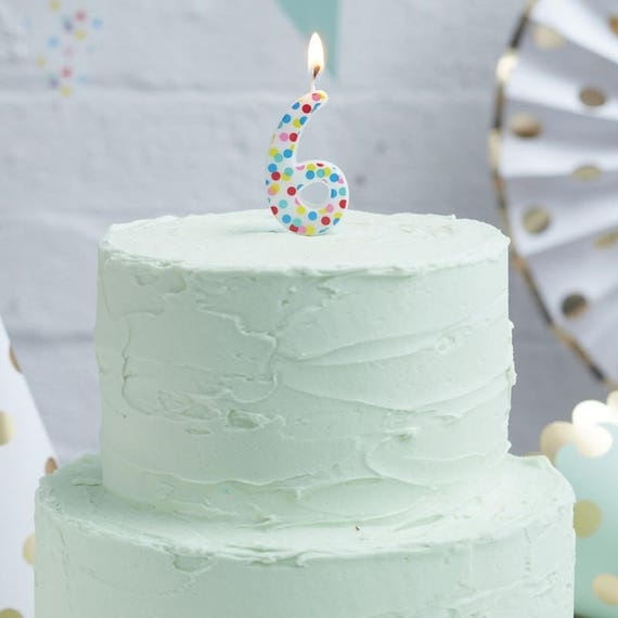 Rainbow Number 6 Candle Number Candle Rainbow Birthday Etsy