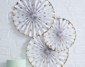 Gold Polka Dot Paper Fan Decoration, Wedding Decor, Baby Shower Decor, Gold Party Decor, Kids Party Decor, Baby Shower Fans, Wedding Decor
