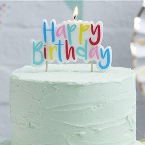 Rainbow Happy Birthday Candle Birthday Candles Rainbow Cake Etsy