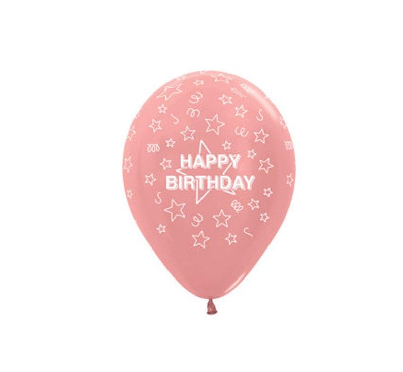Rose Gold Happy Birthday Balloons Latex