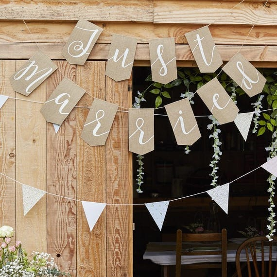 Burlap Just Married Bunting Wedding Decoration Natural Etsy