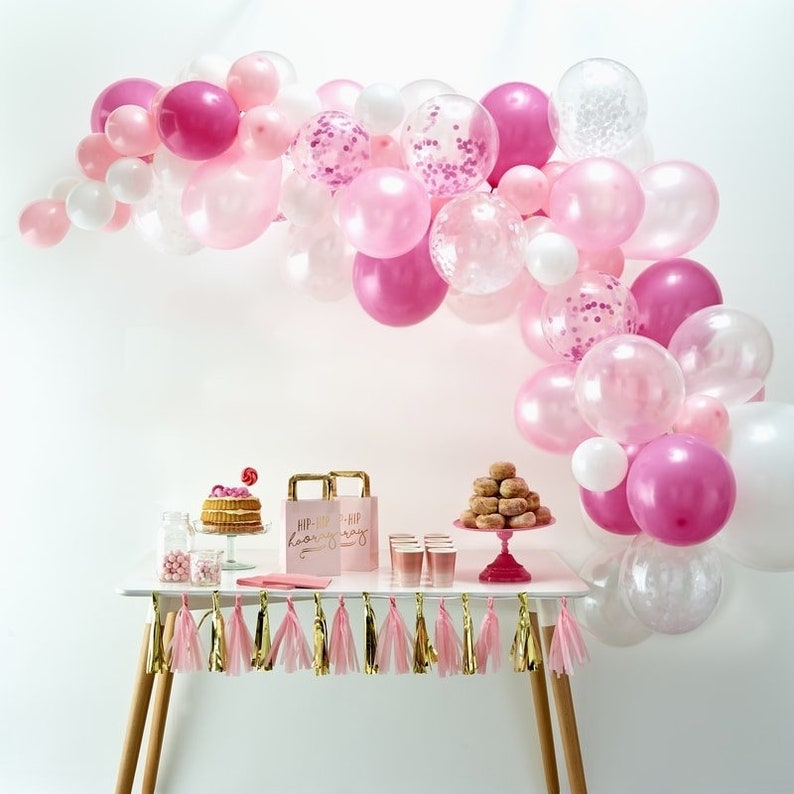 Pink Baby Shower Balloons Pink Baby Shower Pink Balloons Pink Balloon Garland Kit Birthday Balloons Party Backdrop Hen Party Balloons