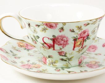 SL*T New Porcelain 7 oz. Teacup & Saucer, Mint/ Roses CUSTOMIZABLE