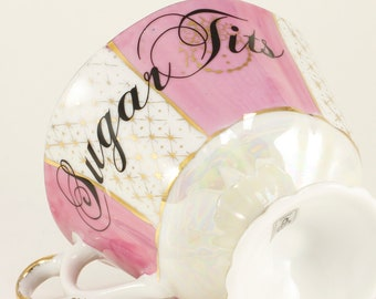 SUGAR TITS Vintage Japan Opalescent 6 oz. Lusterware Footed Teacup (no saucer), pink/white   CUSTOMIZABLE