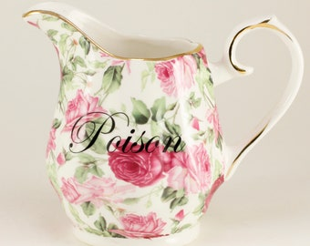 POISON New Teapot, Sugar and Creamer Tea Coffee Cocktail Service Pitcher Creamer, Pink Rose Chintz   CUSTOMIZABLE