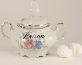 POISON Vintage German Sugar bowl, floral. White with spring florals and gold trim  CuSTOMIZABLE