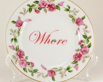 """WH*RE  Wentworth 6 3/8"""" Vintage Bread and Butter Plate, white with pink rose garland, gold trim  CuSTOMIZABLE"""