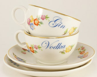 GIN and VODKA Warwick 3 oz Vintage demitasse set of 2 (two) cups and saucers. Creamy ivory with with spring floral sprays   CUSTOMIZABLE