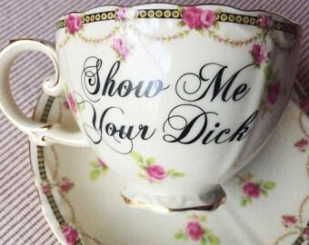 SHOW ME your D*CK New Porcelain China 7 oz. Teacup & Saucer pink roses, black/gold trim  CuSTOMIZABLE