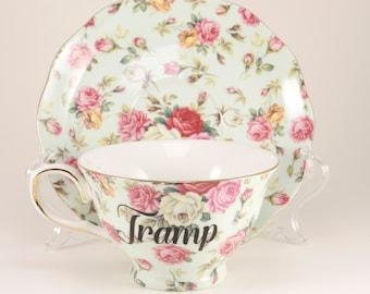 TRAMP New Porcelain 7 oz. Teacup & Saucer, Mint/ Roses CUSTOMIZABLE