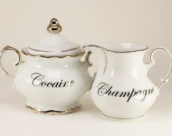 COCAINE and CHAMPAGNE Winterling Charisma Vintage Sugar bowl and creamer set, white with silver trim   CUSTOMIZABLE