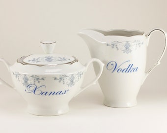 VODKA and XANAX Cmielo Polish Vintage Sugar bowl and creamer set, white with muted blue floral design  CUSTOMIZABLE