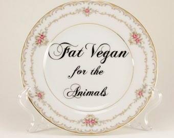 """FAT VEGAN for the Animals.   Princess 6 3/8"""" Vintage Bread and Butter Plate, white pink roses   CuSTOMIZABLE"""
