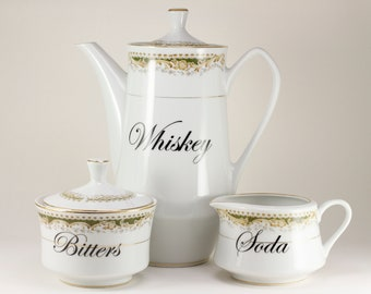 WHISKEY, SODA and BITTERS Vintage Queen Anne Japan Teapot, Sugar and Creamer Tea Coffee Cocktail Service Set  CUSTOMIZable