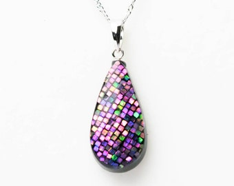 Abalone Jewelry, Mother of Pearl, Anniversary Gift, Abalone Necklace, Abalone shell, for Her, Japanese raden lacquer work [Necklace _ Shizuku _pnk]