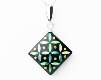 Abalone Jewelry, Mother of Pearl, Anniversary Gift, Abalone Necklace, Abalone shell, Japanese raden lacquer work, Cloisonne GRN [Necklace _ Cloisonne]