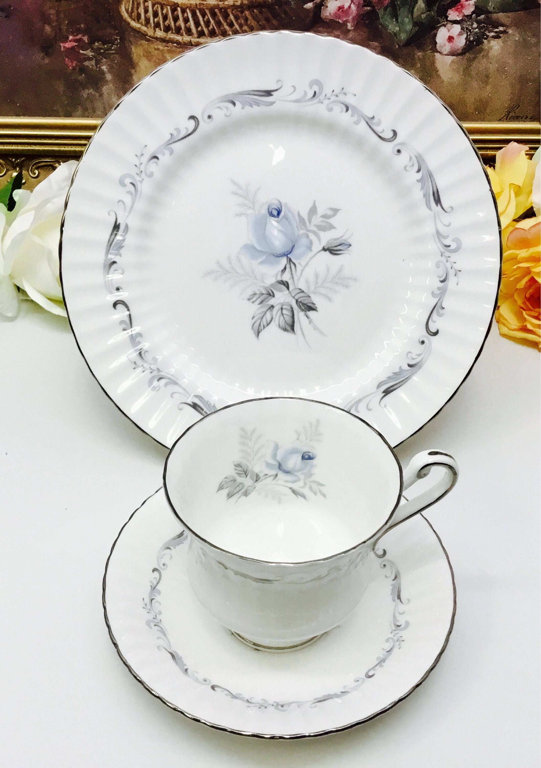 Beautiful Vintage Paragon Tapestry Rose Cup And Saucer Desert Plate Trio Set