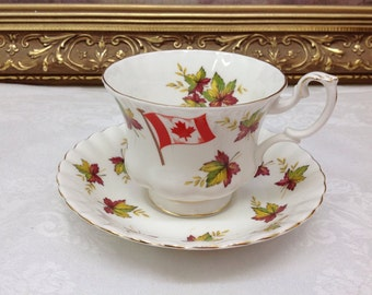 """Royal Albert Canadian teacup and saucer """"from sea to sea"""""""