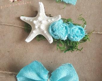 Natural starfiah tieback, pearl, mermaid tieback, organic tieback, baby tieback, delicate tieback, newborn tieback, blue tieback, photo prop
