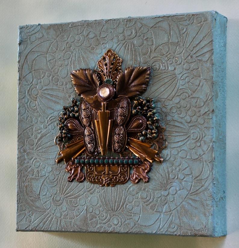 Assemblage art Found object art 3D wall art Meditative art Upcycled 3D collage Steampunk style Blue wall art Textured art