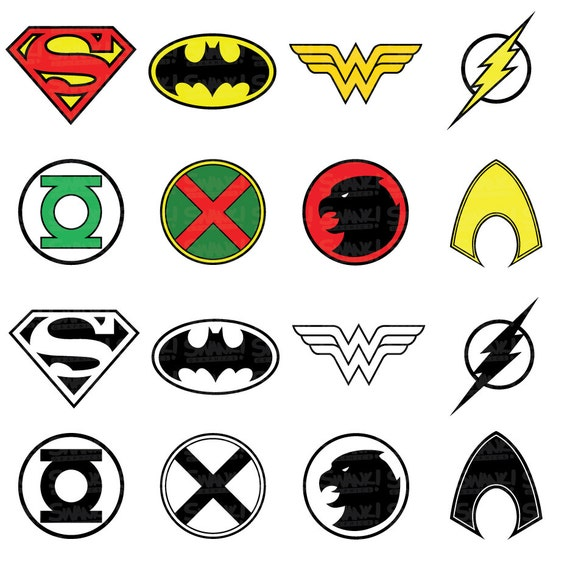 Justice League Superhero Symbol Clipart Svgpngeps Files