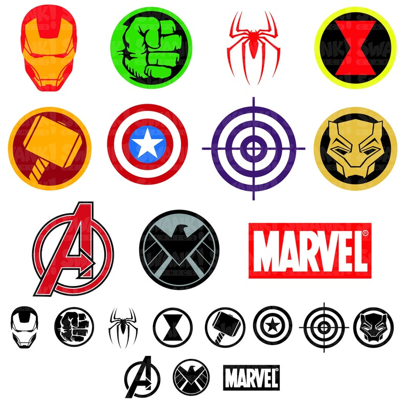 Avengers Superhero Symbol Clipart | SVG/PNG/EPS | Iron Man | Spider-Man |  Captain America | Hulk | Black Panther | Personal/Commercial Use