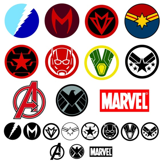 Avengers Superhero Symbol Clipart | SVG/PNG/EPS | Captain Marvel | Ant-Man  | Vision | Scarlet Witch | Quicksilver | Personal/Commercial Use