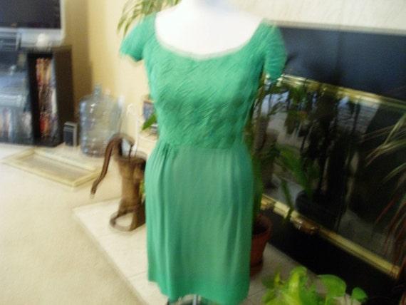 I Magnin and Co Green Smocked Dress 1960