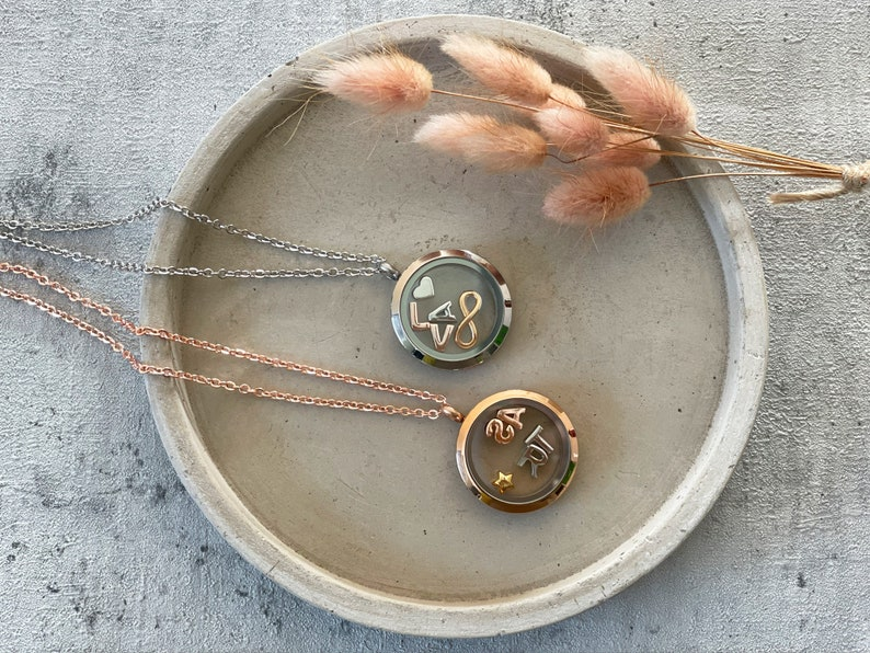 Personalized medallion necklace with letters birthstones image 0