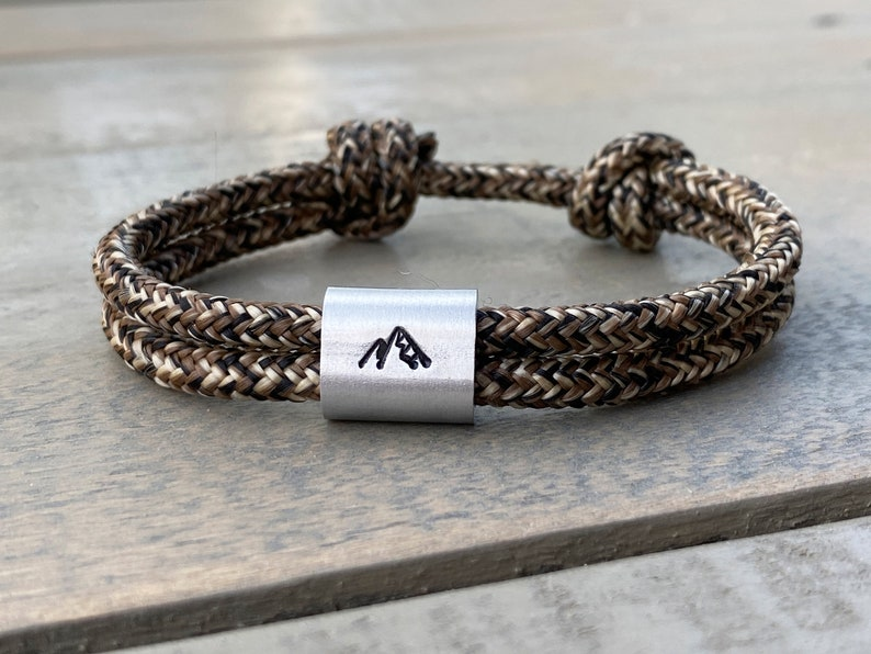 Personalized men's bracelet in saildew hand-stamped  Berg image 0