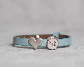 Leather bracelet with the name   Photo bead   Desired photo   Children's name   Silver Heart   Bracelet   Desired names