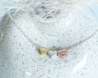 Necklace Tricolour Hearts, Necklace
